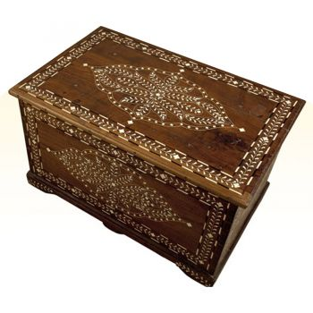 Teak chest or coffee table with inlay