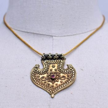 18K Gold Indian Pendant