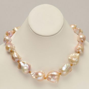 20-22mm Blush Baroque Pearls with 18K gold