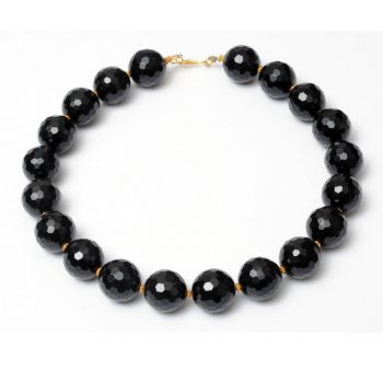 Dimpled Black Onyx and 18K Gold