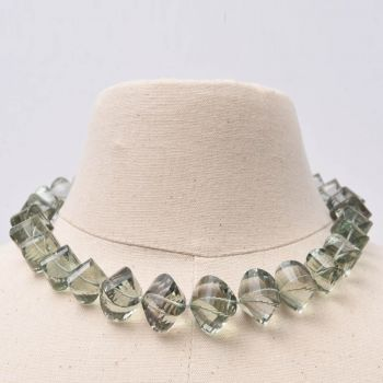 Green Amethyst Cushion Cut Bead Necklace - JN2017-13