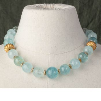 Large Faceted Aquamarines with 22K gold - JN2018-18