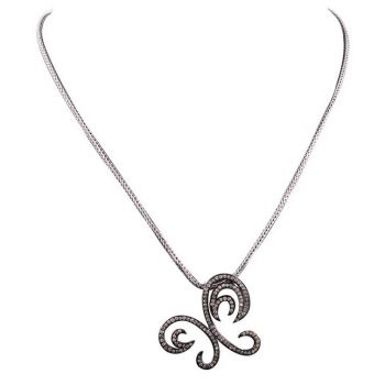 Pave` Diamond and Sterling Pendant Necklace
