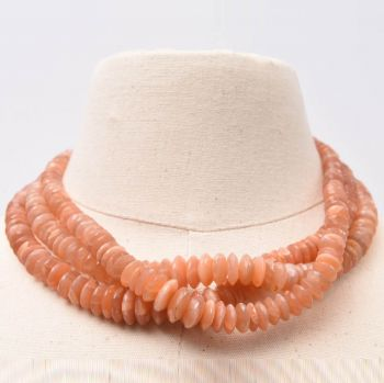 Triple Strand Peach Moonstone - JN2017-20