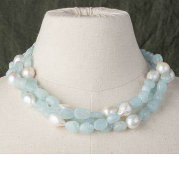Triple Strand of Tumbled Aquamarines and Baroque Pearls - JN2018-24