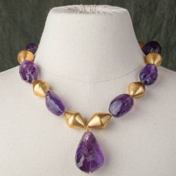 Tumbled Amethyst with 18K Gold - JN2018-25