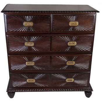 Carved Sunburst Drawer Chest of Drawers, Rosewood - FC20194