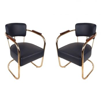Brass, Teak and Navy Leather Ship's Chairs - FS2017-1