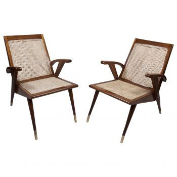 Pair of Caned Mid Century Modern Teak Chairs - FS201918