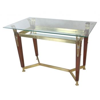 Brass and Teak Console Table with Mirror and Glass Top-FT2018-1