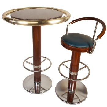 French Ship's Granite and Brass Bar Table, Bar Stools Available - FT20193