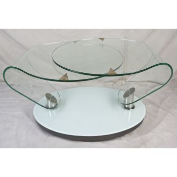1970's Space Age Glass Double-Swivel Coffee Table - FT20196