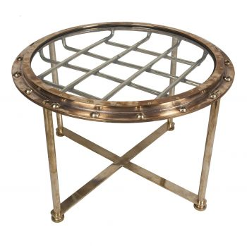 Brass Ship's Window with Crossbars Converted to Coffee Table - FT201910