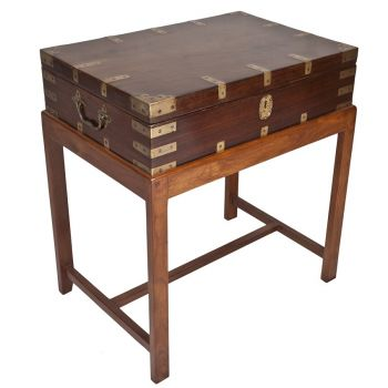 British Campaign Rosewood Officer's Chest on Stand - FT201911