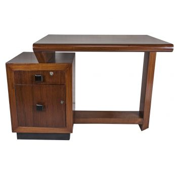 Mid Century Modern Teak Assymetrical Desk with Rosewood Pulls - FT201916