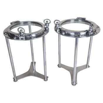 Pair of Chrome Porthole Windows Converted to Side Tables - FT201919