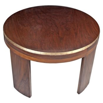 Round Teak and Brass Coffee Table, 60's - FT201921