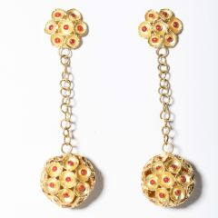 22K Gold and Coral Earrings-JE2019-2