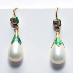 22K Gold, Enamel and Pearls