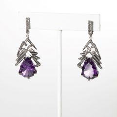 Amethyst and Diamond Earrings-JE2019-8
