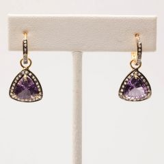 Amethyst and Diamond Hoops-JE2018-14