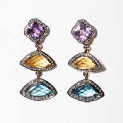 Amethyst, Citrine, Blue Topaz and Diamonds-JE2019-9