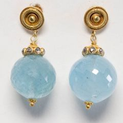 Aquamarine and 22K Gold Drops-JE2018-16