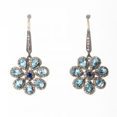 Blue Topaz and Sapphire Earrings-JE2019-13
