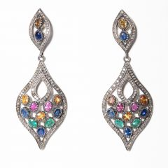 Colored Sapphire and Diamond Earrings-JE2019-19