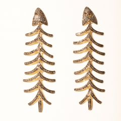 Diamond Fishbone Earrings-JE2019-28