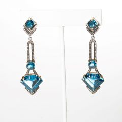 Diamond and Blue Topaz Earrings-JE2019-23