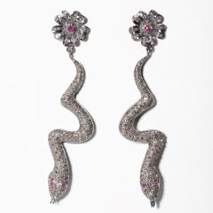 Diamond and Ruby Snake Earrings-JE2019-25