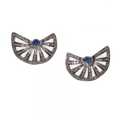 Diamond and Sapphire Fan Earrings-JE2018-30
