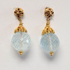 Faceted Aquamarine and 22K Gold Drops-JE2018-44