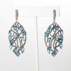 Faceted Blue topaz and Diamond Earrings-JE2019-40