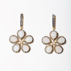 Moonstone and Diamond Flower Earrings-JE2019-48
