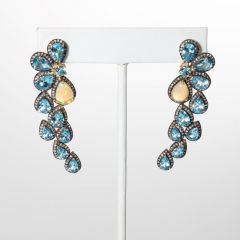 Opal and Blue Topaz Earrings-JE2019-50