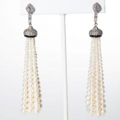 Pearl and Diamond Tassle Earrings-JE2019-54