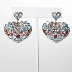 Pink Tourmaline and Blue Topaz Mozaic Earrings-JE2019-57