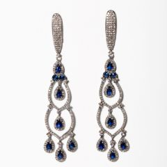 Sapphire and Diamond Dangle Earrings-JE2019-64