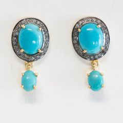 Turquoise and Diamond Earrings-JE2018-81