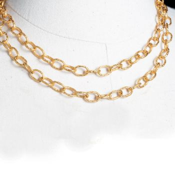 22K Testured Gold Chain, Doubled-JN2019-5