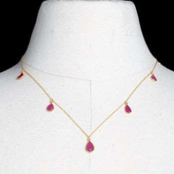 Carved Burmese Rubies on 18K Gold Chain-JN2019-7