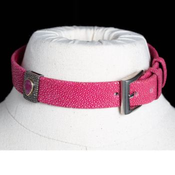 Ruby, Diamond and Shagreen Choker, can also be wrap bracelet-JN2019-14
