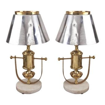 Chrome and Brass Lamps on Marble Bases, 70';s -  NL2019-5