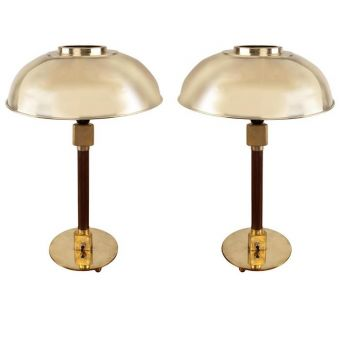 Domed Brass Shade and Teak Stateroom Lamps -  NL2019-7