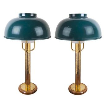 Green Enamel Shades and Brass Lamps -  NL2019-10