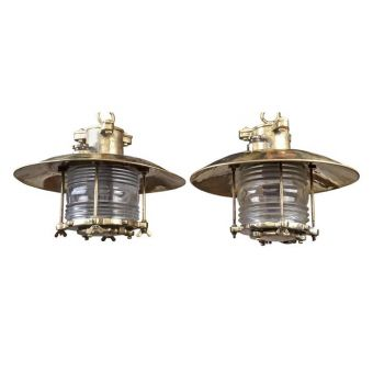 Pair of Frensel Lens and Brass Pendants -  NL2019-12