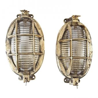 Pair of Oval and Textured Glass Passageway Lights -  NL2019-13