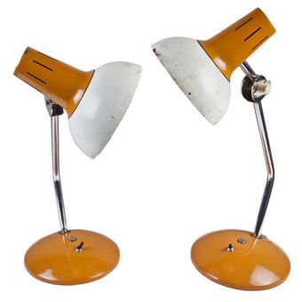Stateroom Desk Lamps, Saffron and White, 70's -  NL2019-15